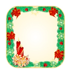 Button square christmas spruce with candlestick vector