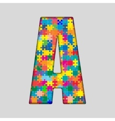 Color puzzle piece jigsaw letter - a vector