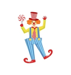 Colorful friendly clown with lollypop in classic vector