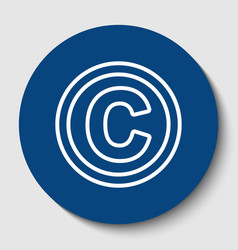 Copyright sign white contour vector