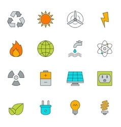 Eco energy color line icons vector