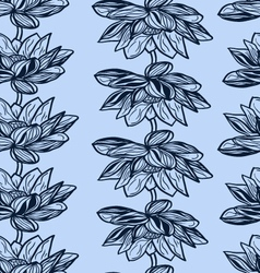 Floral seamless pattern with hand drawn lotus flow vector image