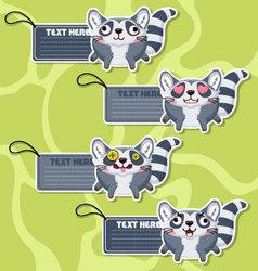 Four cute cartoon Raccoons stickers vector image vector image