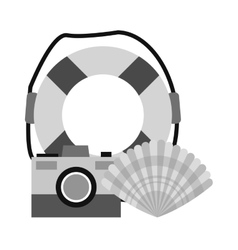 Isolated save float camera and shell design vector