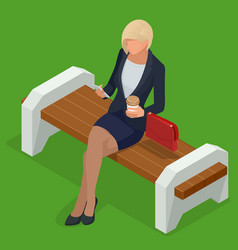 isometric business woman in corporate clothing vector image