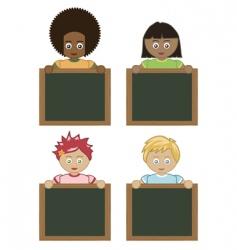 kids holding blackboards vector image vector image