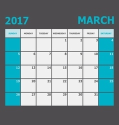 March 2017 calendar week starts on sunday vector