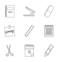 Office tools icon set outline style vector