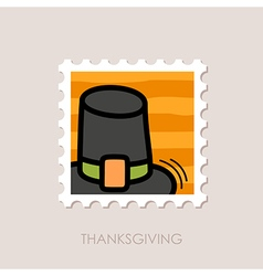 Pilgrim hat stamp harvest thanksgiving vector