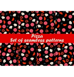 Pizza seamless patterns set vector