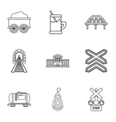 Railway icons set outline style vector