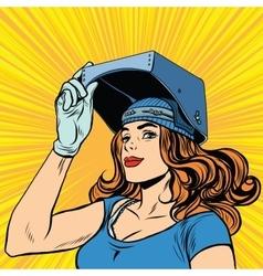 Retro girl welder job construction vector