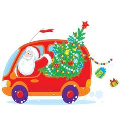 Santa drives with christmas tree vector