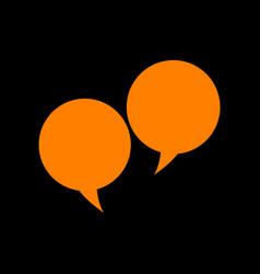 speech bubble sign orange icon on black vector image vector image