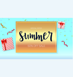 summer sale ad banner on bright golden background vector image vector image