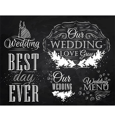 Wedding set chalk vector