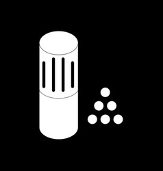White icon on black background shotgun bullet vector
