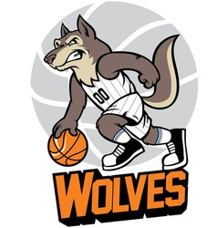 wolf basketball mascot vector image