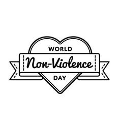 World non violence day greeting emblem vector