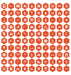 100 kids icons hexagon orange vector image vector image