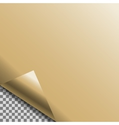 Curled gold foil blank tag vector