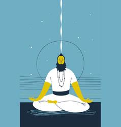 Male yogi with beard sits cross legged and vector