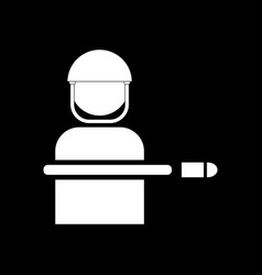 White icon on black background bullet wounded vector