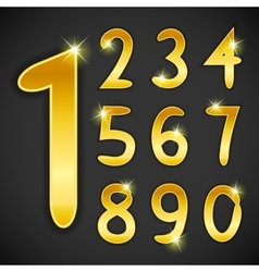 Number set in golden style on black background vector