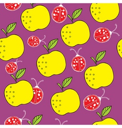 apple and ladybird pattern vector image