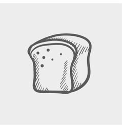 Small sized loaf bread sketch icon vector