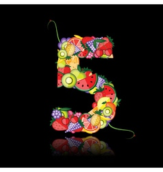 number five made from fruits vector image