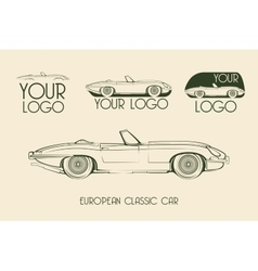 European classic sports car silhouettes vector