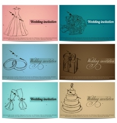 Vintage wedding invitation cards set vector