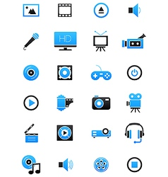 Turquoise black multimedia icons set vector