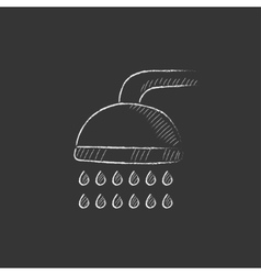 Shower drawn in chalk icon vector