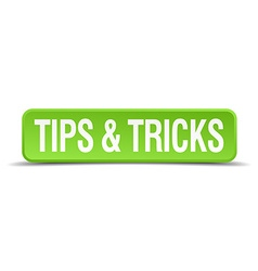 Tips and tricks green 3d realistic square isolated vector