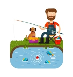Fun fisherman catches fish fishing rod cartoon vector