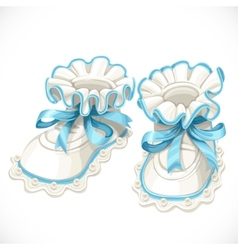 Baby blue booties isolated on white vector