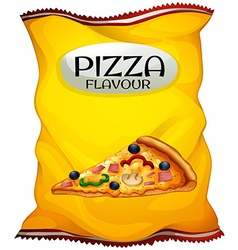 Bag of chips pizza flavour vector