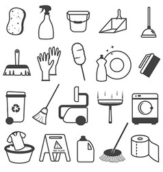 Basic cleaning tools icons set vector