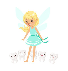 Beautiful sweet blonde tooth fairy girl standing vector