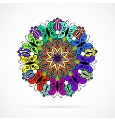 Bright color mandala over white vector