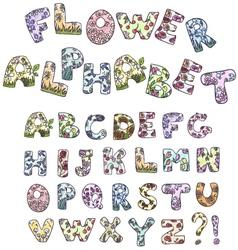 cartoon flower alphabet vector image