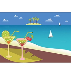 Coctails on the tropical beach vector