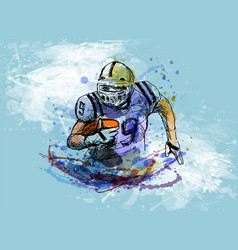 colorful sketch player of american football vector image vector image