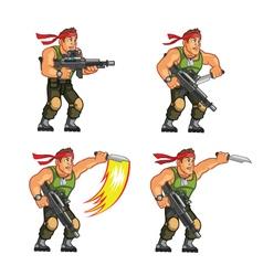 Commando knife attack game sprite vector
