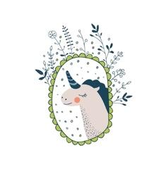 Cute magic collection with unicorn rainbow fairy vector