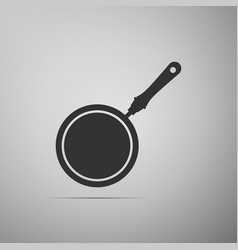 frying pan isolated on grey background vector image