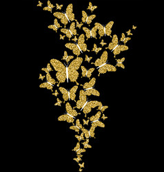gold glitter spring nature butterfly vector image vector image