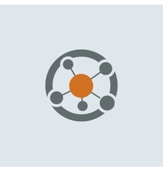 Gray-orange Network Round Icon vector image